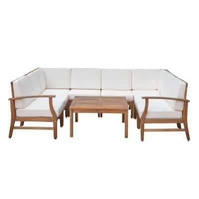 Perla Teak Finish 9-Piece Wood Outdoor Sectional Set with Cream Cushions