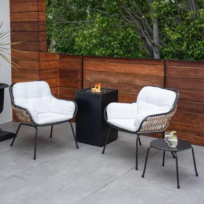 Bali 4-Piece Wicker Patio Conversation Set with White Cushions