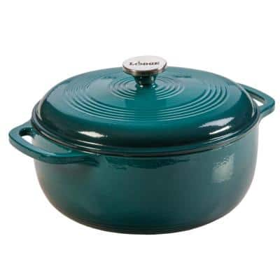 Enamelware 6 qt. Round Cast Iron Dutch Oven in Lagoon Blue with Lid
