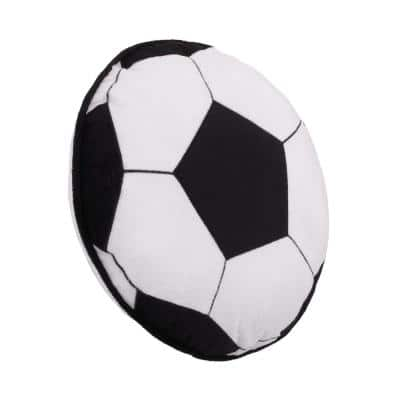 Sports Black and White Soccer Ball with Embroidery 13 in. x 13 in. Decorative Pillow
