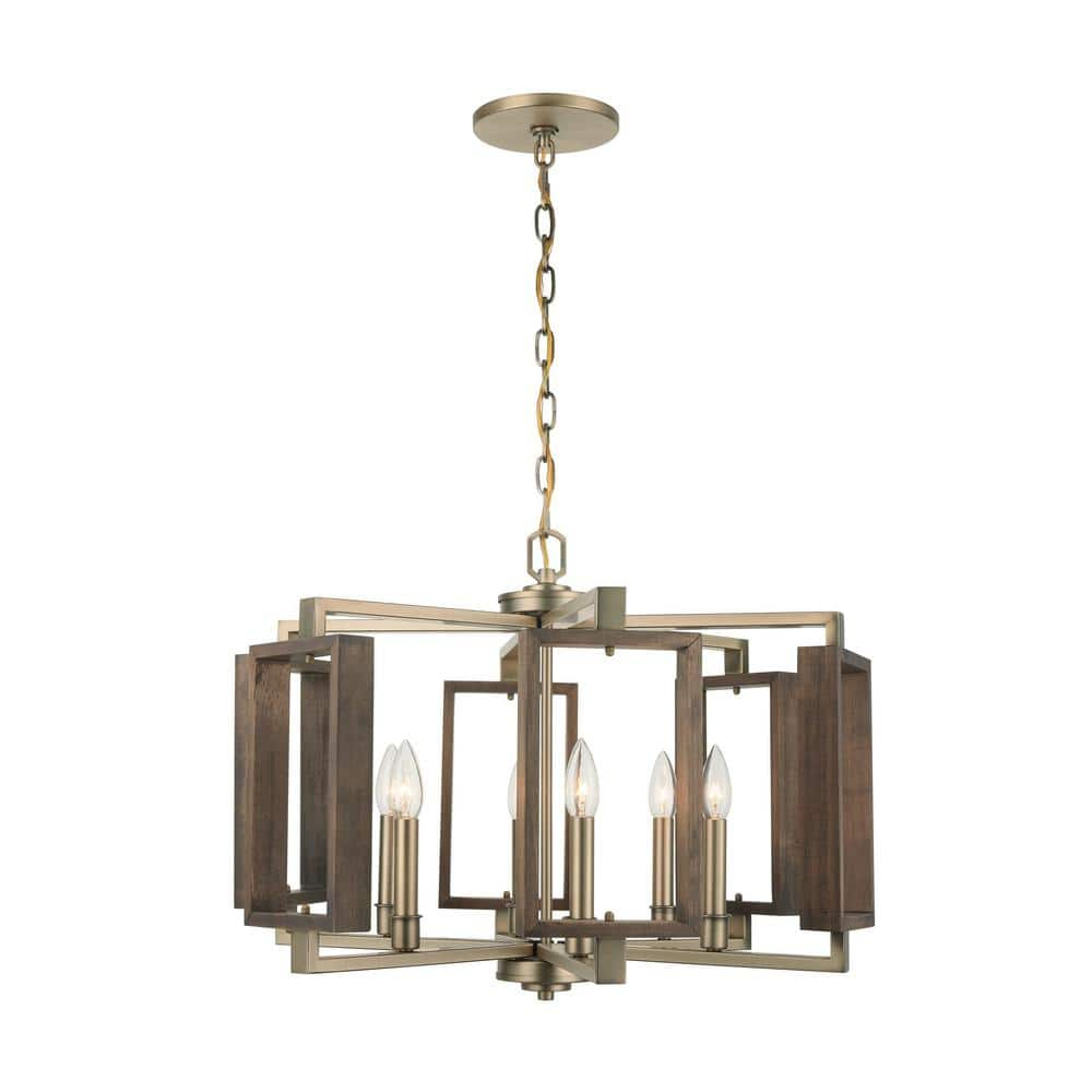 Home Decorators Collection Zurich 6 Light Soft Gold Chandelier With Wood Accents Hd 1253sg The Home Depot