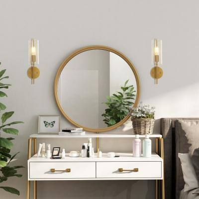 Lind 1-Light Modern Brass Gold Wall Sconce Bathroom Vanity Light with Cylinder Seeded Glass Shade