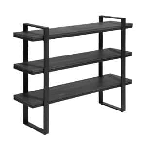 32.3 in. Black Wood Storage 2-Shelf Small Bookcase for Home Office Decor