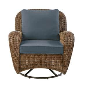 Beacon Park Brown Wicker Outdoor Patio Swivel Lounge Chair with Sunbrella Denim Blue Cushions