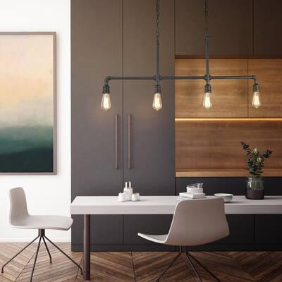 44 in. 4-Light Modern Industrial Black Island Chandelier Water Pipe Linear Pendant Light