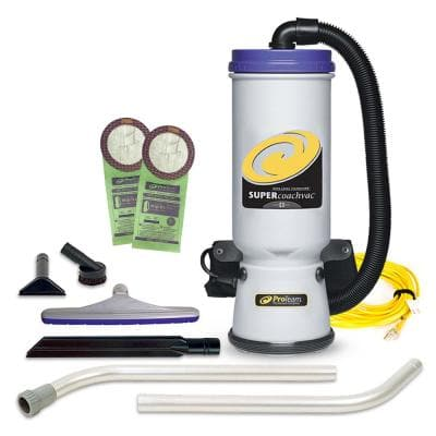 Super CoachVac 10 Qt. Commercial Backpack Vacuum Cleaner with Xover Multi-Surface 2-Piece Wand Tool Kit
