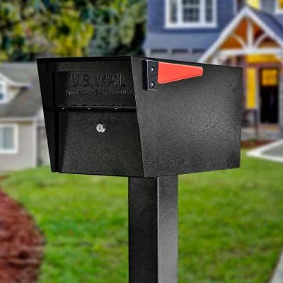 Mail Manager Locking Post-Mount Mailbox with High Security Reinforced Patented Locking System, Black