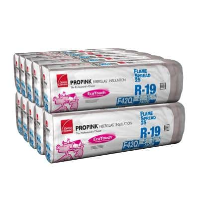 R-19  PINK Flame Spread 25 Metal Framed FSK Faced Fiberglass Insulation Batts 16 in. x 96 in. (10-Bags)