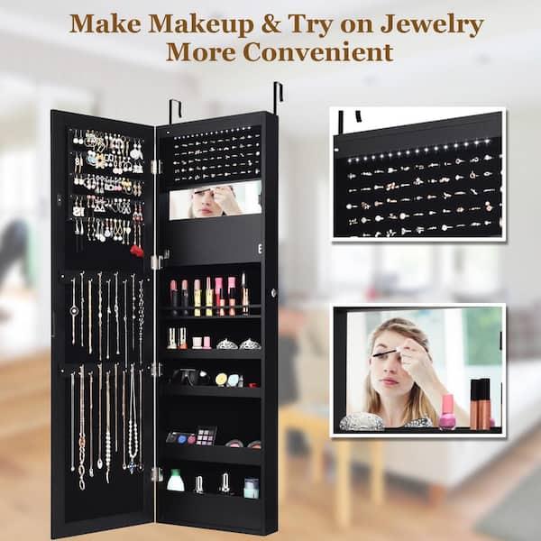 Costway Lockable Mirror Jewelry Cabinet, Jewelry Cabinet Wall Mounted Mirrored Armoire Storage Organizer