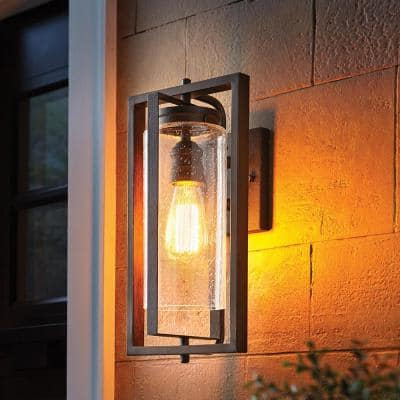 Palermo Grove 8 in. 1-Light Gilded Iron Farmhouse Outdoor Wall Lantern Sconce with Walnut Wood Accents
