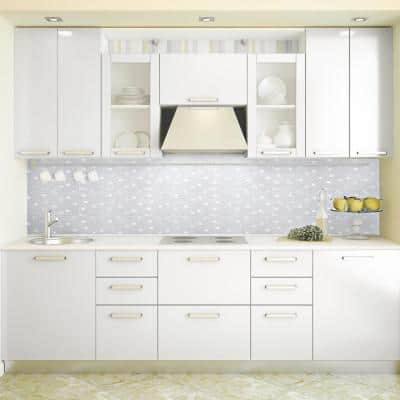 Crystal Ice White 11.875 in. x 11.875 in. Interlocking Mixed Glass and Metal Mosaic Tile (0.979 Sq.Ft./Each)