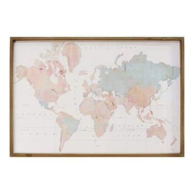 Victoria Watercolor World Map Wood Framed Wall Art