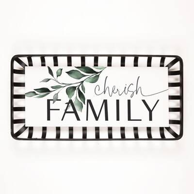 Cherish Family White Wooden/Metal Individual Wall Art