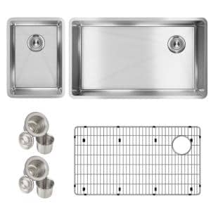 Crosstown Undermount Stainless Steel 32 in. Single Bowl Kitchen Sink with Bar Sink, Drains and Bottom Grid