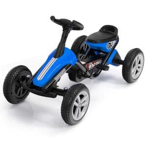Speed Kids 4-Wheel Pedal Powered Ride on Racer Car in Blue