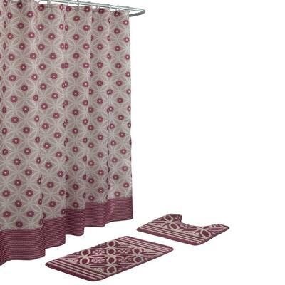 Hartford Barn Red/Linen 15-Piece Bath Rug and Shower Curtain Set