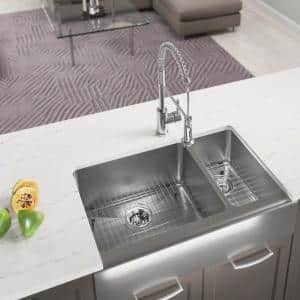 Farmhouse Apron Front Stainless Steel 33 in. Left Double Bowl Kitchen Sink with Additional Accessories
