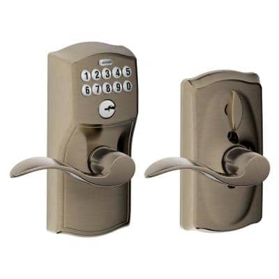 Camelot Antique Pewter Electronic Door Lock with Accent Door Lever Featuring Flex Lock