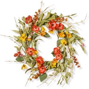 22 in. Spring Flower Wreath