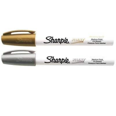 Gold and Silver Medium Point Oil-Based Paint Marker (2-Pack)