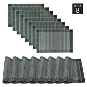 Palermo 13 in. x 19'' In. Blues and River Blue PVC Placemats Set of 8