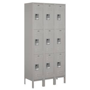 63000 Series 36 in. W x 78 in. H x 15 in. D - Triple Tier Metal Locker Assembled in Gray