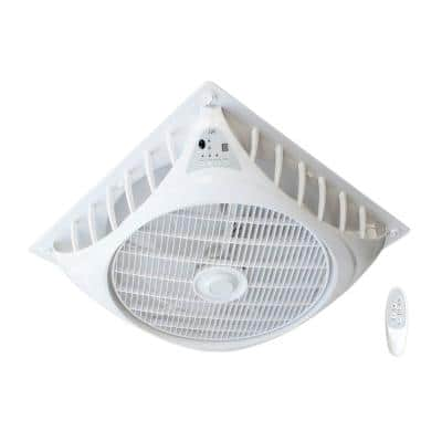 23.74 in. Indoor White DC-Motor Drop Ceiling Fan with Remote Control