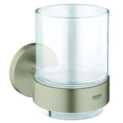 Essentials Wall-Mounted Crystal Glass with Holder in Brushed Nickel InfinityFinish