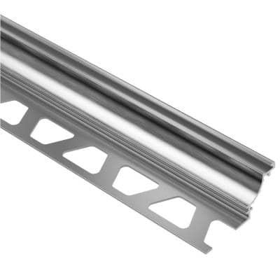 Dilex-AHK Brushed Chrome Anodized Aluminum 1/2 in. x 8 ft. 2-1/2 in. Metal Cove-Shaped Tile Edging Trim