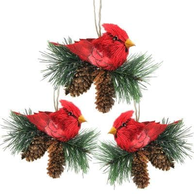 """Red Winter Cardinal Bird Pine Cones 16/"""" Square Christmas Hooked Throw Pillow"""