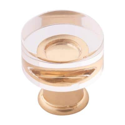 Midway Collection 1 in. Crysacrylic with Brushed Golden Brass Finish Cabinet Knob