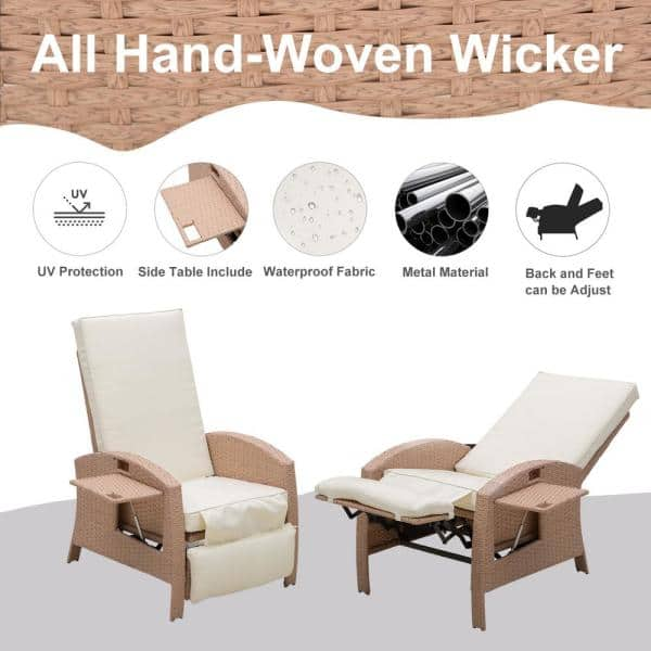 Outsunny Beige Adjustable Recliner, Plastic Feet For Outdoor Furniture Home Depot