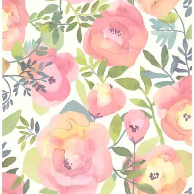 Peachy Keen Pink Vinyl Peel & Stick Wallpaper Roll (Covers 30.75 Sq. Ft.)