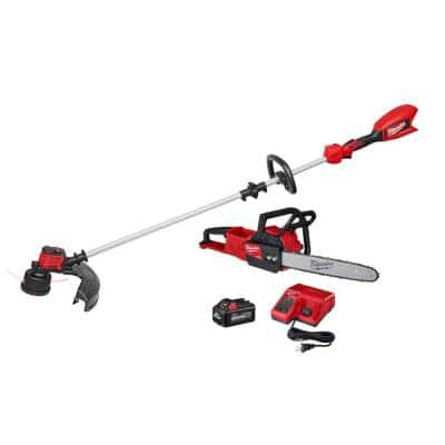 M18 18-Volt Lithium-Ion Brushless Cordless String Trimmer, 6.0 Ah Battery, Charger and M18 FUEL Chainsaw Combo Kit