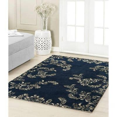 Winchester Plush Knit Navy Blue 5 ft. x 8 ft. Area Rug
