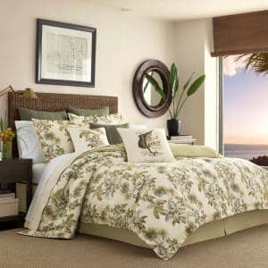 Nador 4-Piece Beige Botanical Cotton King Comforter Set
