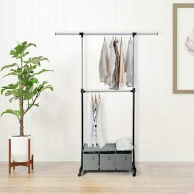 Metallic Metal Clothes Rack 34.5 in. W x 87 in. H
