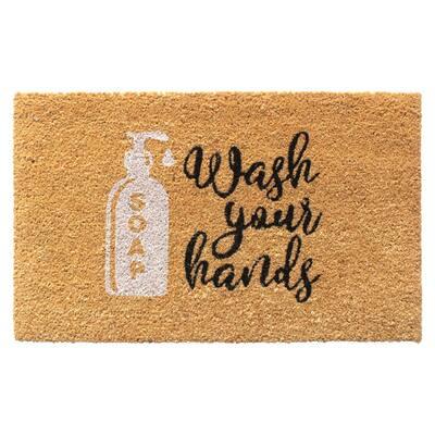 Natural 18 in. x 30 in. Wash your Hands Door Mat