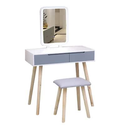Modern Bedroom Vanity Table Set with Adjustable Brightness Mirror