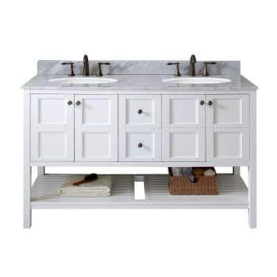 Winterfell 60 in. W Bath Vanity in White with Marble Vanity Top in White with Round Basin