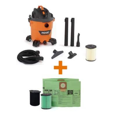 12 Gal. 5.0-Peak HP NXT Wet/Dry Shop Vacuum with Filter, Hose, Accessories, OSHA and HEPA Filtration Kit