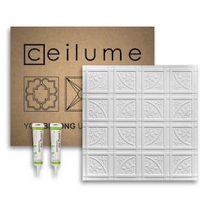 Lafayette 2 ft. x 2 ft. Glue Up Vinyl Ceiling Tile and Backsplash Kit in White (21 sq. ft./case)