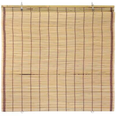 Oriental Furniture Burnt Bamboo Cordless Window Shade Tortoise 60 in. W x 72 in. L