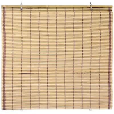 Oriental Furniture Burnt Bamboo Cordless Window Shade Tortoise 72 in. W x 72 in. L