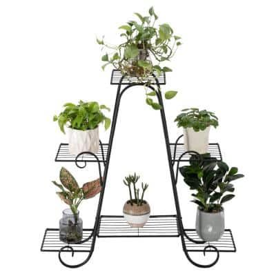 8.46 in. Tall Indoor/Outdoor Black Paint 4-Layers 6 Vertical Stripes Potted Plant Stand (1-Pack)