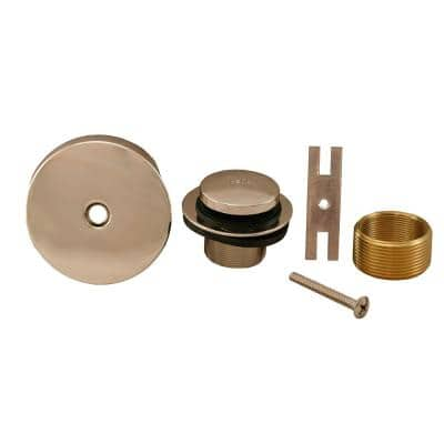 Toe Touch Bath Tub Drain Conversion Kit with 1-Hole Overflow Plate in Polished Stainless