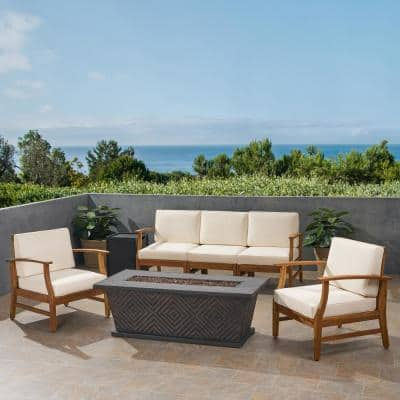Driscoll Teak Brown 7-Piece Wood Patio Fire Pit Seating Set with Cream Cushions