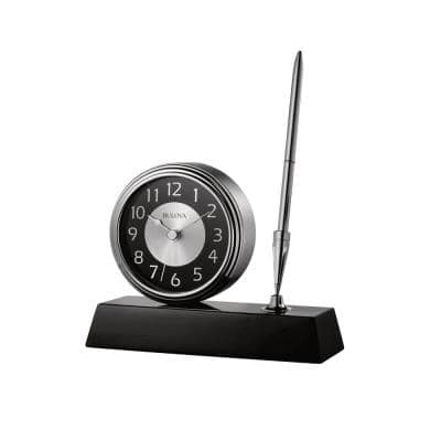 5 in. H x 5.75 in. W Clock and Pen Desk Set with Black Wooden Base and Brushed Silver Accents