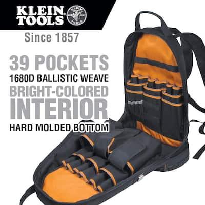 Tradesman Pro Tool Bag Backpack, 39 Pockets, Black, 14-Inch