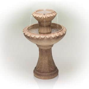 24 in. Tall Vintage Stone Finish Two Tier Fountain Yard Art Decor, Brown